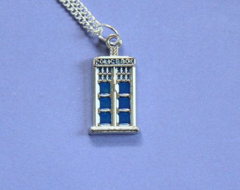 Silver Tardis Necklace,Tardis Pendant,Dr Who Charm,Doctor Who,Silver Pendant,Tibetan Silver Tardis Charm,Secret Santa Gift,Stocking Filler