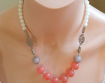 Pink and silver necklace single strand