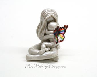 Bereavement Gift for child loss - Mother and Child Angel Sculpture - choose hair and wings- loss of son or daughter keepsake - made to order