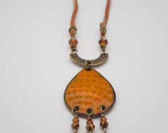 Enamel Necklace, Leather Necklace, Torch Fired Enamel, Orange Enamel Necklace, Mixed Metal Jewelry