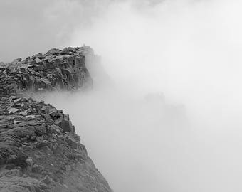 Hiking The Pike, Hiker, Cliff, Fog, Mountain, Nature, Black and White, Pikes Peak, Colorado