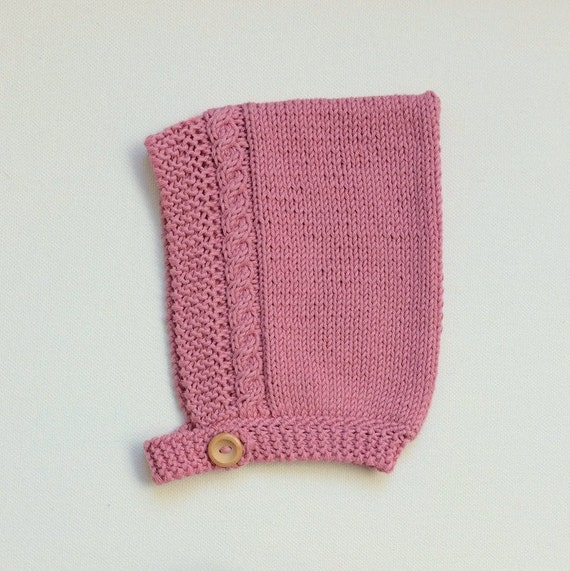 Organic Cotton Cable Pixie Hat in Pink - Size 3-6 months - Ready to Ship
