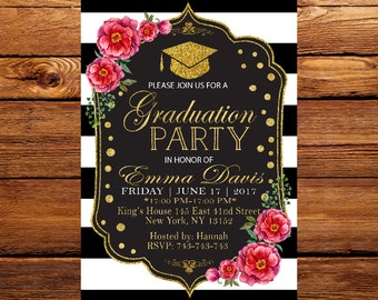 Graduation Invitation, Graduation Party Invites, Black and Gold Graduation Invitation,Black and White Stripe, Graduation Invite 2