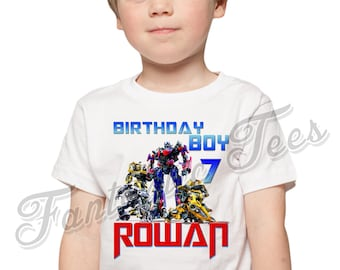 Transformers Birthday Shirt Add Name & Age Transformers Custom Birthday Party TShirt A