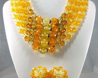 Vintage Five Strand Lucite Demi-Parure in Tangerine Orange & Yellow Antique Gold Trim, 1950s Beaded Necklace and Earrings, Vintage Jewelry