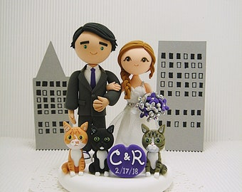 Cute couple with 3 cats custom wedding cake topper