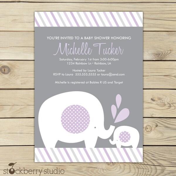 Purple elephant baby shower invitation printable girl zoom filmwisefo Images