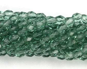 Czech Glass Beads Fire Polished Faceted Rounds 4mm Light Prairie Green CZF316
