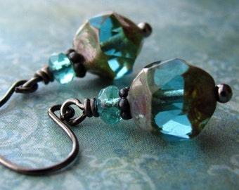 INNER BEAUTY - Small Earthy Aqua Glass Earrings, Rustic Boho Style Teal Glass Bead Earrings, Affordable Jewelry Gift for Teen Girl Teenager