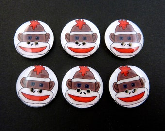 6 Sock Monkey Buttons. Handmade Buttons.  Sock monkey sewing buttons. Choose Your Size.