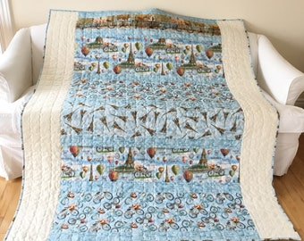 Paris Cafe Eiffel Tower Large Lap Quilt Throw Quilt Handmade Homemade 59 x 72 inches Free Shipping Canada and USA