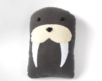 Walrus Plush Stuffed Animal Pillow - Gray Marine Mammal Sea Creature Underwater - Walter