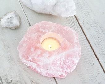 Rose Quartz candleholder. T-light holder Boho home decor. Bohemian homewares. Meditation Crystal. Rose quartz crystal