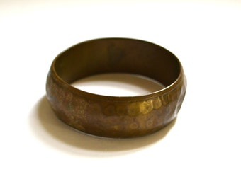 Vintage Oxidized Hammered Brass Bangle Bracelet, Statement Jewelry