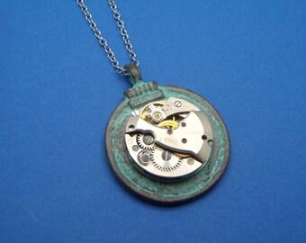 Mykonos Steampunk Watch Movement Pendant Necklace