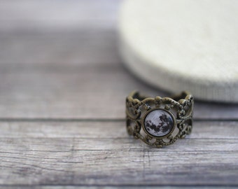 Moon Ring, Full Moon Ring, Moon Jewelry, Moon, Solar System Ring, Solar System Jewelry, Space Ring, Galaxy, Solar System, Lunar Ring