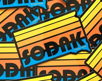 SoDak Sunset Black Retro Sticker - South Dakota Decal - SoDak Summer Sunset Retro Stripes Decal - SoDak Sticker - SoDak Decal Oh Geez Design