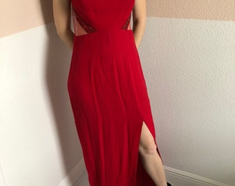 Vintage Red Formal Dress / Prom / Evening Gown / Wedding