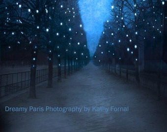 PARIS CLEARANCE SALE Print, Tuileries Sparkling Trees, Paris Starry Night Print, Paris Sparkling Blue Fairy Lights, Paris Tuileries Print
