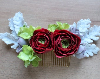 Bridal hair comb flower hair accessory wedding floral comb floral hair clip red flower hair comb bridal hair piece winter wedding hairpiece