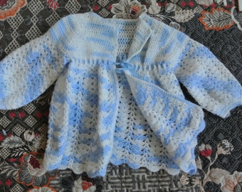 Vintage infant's jacket - blue and white crochet matinee baby jacket