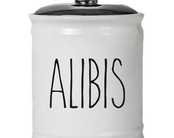 Alibis Word Jar With Lid - Money Coin Jar - Money Bank - Money Jar - Money Jar With Lid
