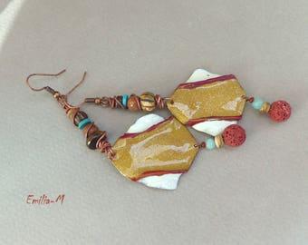 SALES - boho rustic, enamel on copper earrings by Emilia-m