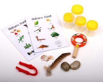 Busy Explorer Nature Bag - Educational toy, Natural exploration, toddler play, fine motor, language development, outdoor scavenger hunt