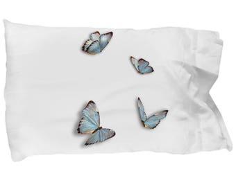 Blue Butterflies throw Pillow Case - Butterfly Standard Pillow Case