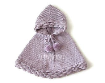 Alpaca Baby Poncho, Lilac Knit Girl Cape, Hand Knit Toddler Sweater, Hooded Cape With Pom Poms, Made To Order