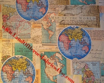World map per yd vintage cartography lula bijoux for david world maps on cotton cartography fabric by the fat quarter half yard or yard gumiabroncs Image collections