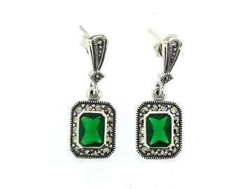 Silver Marcasite Emerald Earrings Square Green Crystal