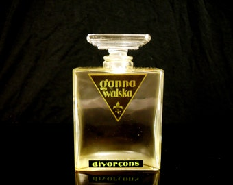 Very Rare Antique 1920s Divorcons by Ganna Walska Art Deco Czech Glass Perfume Bottle