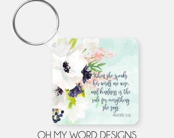 Scripture Keychain-Monogram Keychain-Personalized Keychain-Bag Tags-Luggage Tags-Watercolor Flowers-Gifts for Her