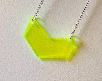 Geometric Neon Chevron Necklace, Flourescent Green Statement Jewelry, Gift for Women