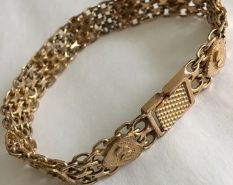 Gold Filled Vintage mesh link bracelet with Hearts Heart motif