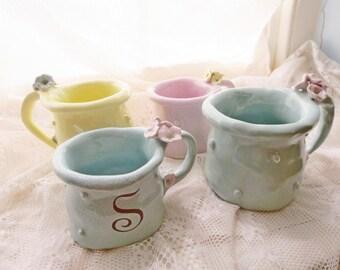 Christmas Gifts, Holidays, Mugs, Mug Set 4, Personalized, Custom colors, Flower, Cup, Wedding Gift porcelain mug, polka dot mug, Pottery mug