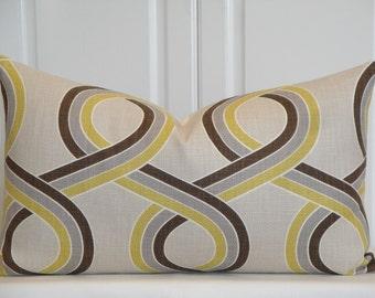 Decorative Pillow Cover  - 14 x 24 - Trellis - Geometric - Throw Pillow - Accent Pillow - Chartreuse - Gray - Brown