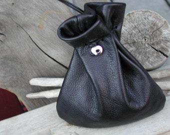 Leather Drawstring Pouch Bag - Large Pouch - Black Bag