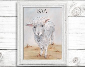 Lamb Art Lamb Painting Lamb Print - Sheep Watercolor Print Baby Nursery Wall Art Barn Animal Farm Baby Sheep Art Print - 6 Sizes To Poster
