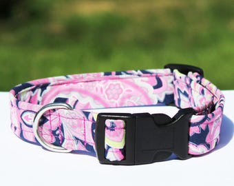 Pink Paisley Dog Collar, Handmade Dog Collar, Fun Purple Pink Collar, Swirl Collar, Pretty Collar, Unique Pet Collar, Purple Paisley Lead