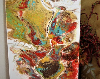 Abstract Painting on Gallery Wrapped Canvas 15x30 in Red, Teal, Golden Yellow, Brown and Metallic Gold