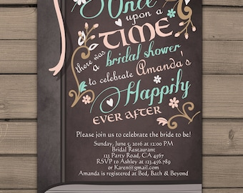 Once Upon a Time Bridal shower invitation Bridal invite Pink Coral Fairy Tales Storybook Bridal shower invitations Digital PRINTABLE DIY stb