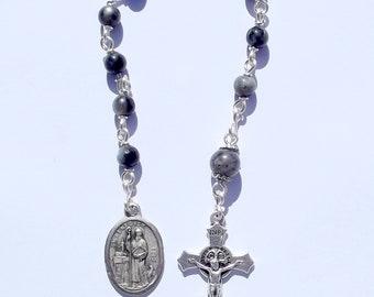 St Benedict Single Decade Rosary with Larvikite Beads. Catholic, Christian, Prayer Beads, Pocket Rosary, Jesus, Chaplet