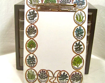 Small Clip Board. French Decor.. Herbs Illustrations. Gardener, Chef Gift. Sage, Chives, Parsley, Mint, Majoraram.