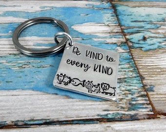 An aluminium square vegetarian/vegan key ring. Be kind to every kind!. A unique and thoughtful keepsake