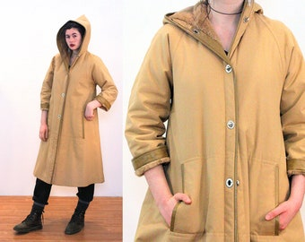 70s Bonnie Cashin Coat L, Hooded Camel Canvas Plush Lined Mod Faux Leather Trim Vintage Sills Designer Luxury Turn Lock Winter Coat, Large