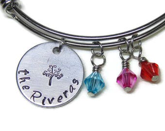 Personalized Tree of Life Bangle; Last Name Stainless Steel Expandable Bangle with Birthstones; Custom Family Tree Birthstone Bracelet