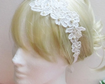Lace Bridal Headband, Lace Bridal Head Tie, Wedding Headband, Bridal Hair, Bridal Hairband, Bridal Headband Headpiece, Lace Wedding Headband