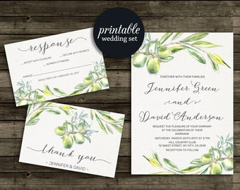 Olive Wedding Invitation Set, Botanical Wedding Invitation Suite, Printable wedding Invitation Watercolor, Olive Branches Invitation green